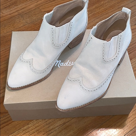 3e3b16e81f0 Madewell brogue Chelsea boots on off white suede